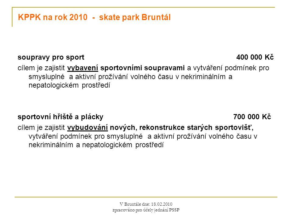 V Bruntále dne: 18.02.2010 zpracováno pro účely jednání PSSP KPPK na rok 2010 - skate park Bruntál soupravy pro sport 400 000 Kč cílem je zajistit vybavení sportovními soupravami a vytváření podmínek pro smysluplné a aktivní prožívání volného času v nekriminálním a nepatologickém prostředí sportovní hřiště a plácky 700 000 Kč cílem je zajistit vybudování nových, rekonstrukce starých sportovišť, vytváření podmínek pro smysluplné a aktivní prožívání volného času v nekriminálním a nepatologickém prostředí