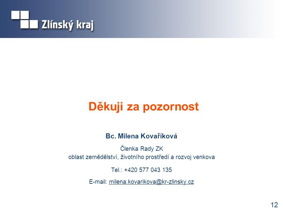 Děkuji za pozornost Bc. Milena Kovaříková Členka Rady ZK oblast zemědělství, životního prostředí a rozvoj venkova Tel.: +420 577 043 135 E-mail: milen