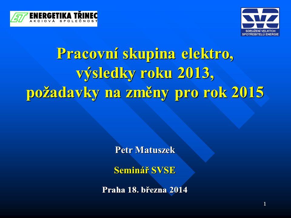 1 Pracovní skupina elektro, výsledky roku 2013, požadavky na změny pro rok 2015 Petr Matuszek Seminář SVSE Praha 18. března 2014