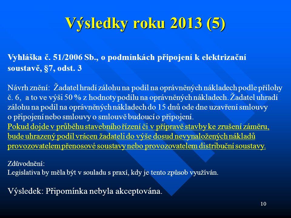 10 Výsledky roku 2013 (5) Vyhláška č. 51/2006 Sb., o podmínkách připojení k elektrizační soustavě, §7, odst. 3 Návrh znění: Žadatel hradí zálohu na po