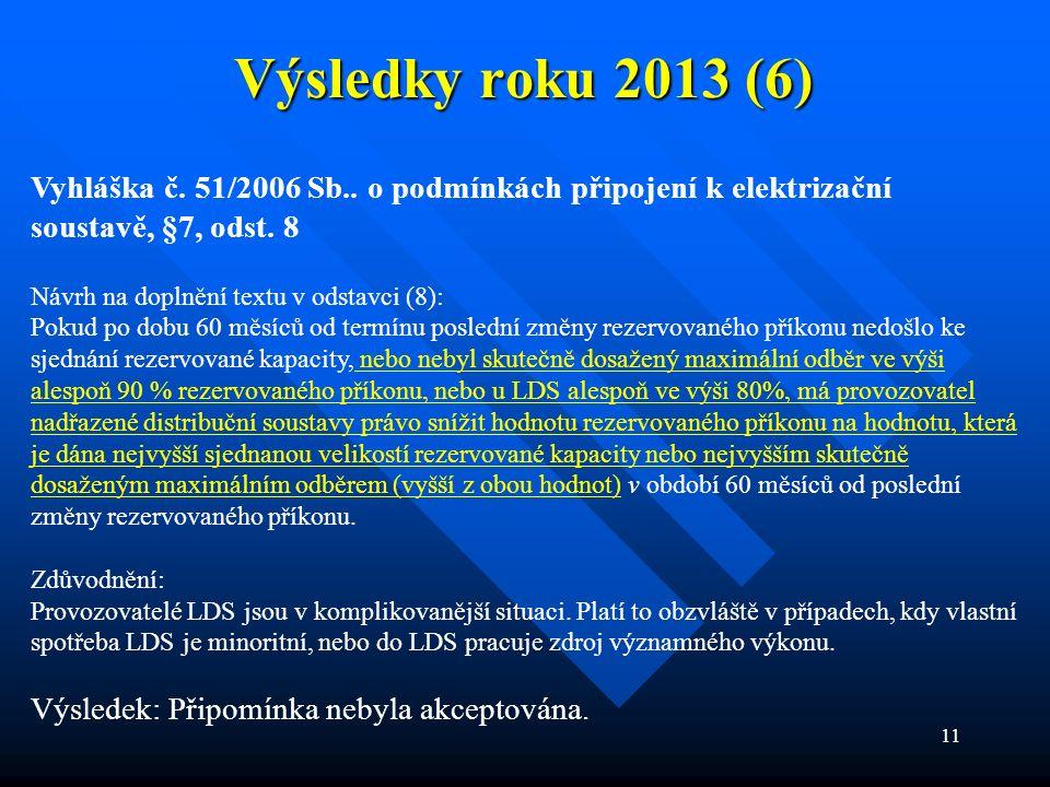 11 Výsledky roku 2013 (6) Vyhláška č. 51/2006 Sb.. o podmínkách připojení k elektrizační soustavě, §7, odst. 8 Návrh na doplnění textu v odstavci (8):