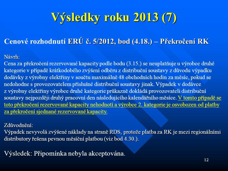 12 Výsledky roku 2013 (7) ERÚ č. 5/2012, bod (4.18.)Překročení RK Cenové rozhodnutí ERÚ č. 5/2012, bod (4.18.) – Překročení RKNávrh: Cena za překročen