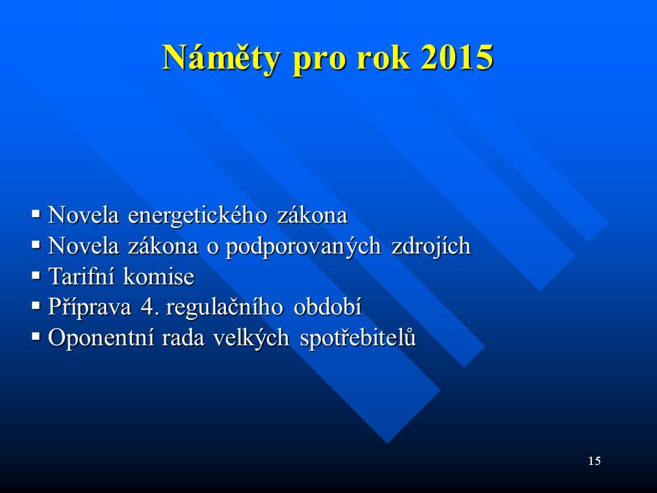 15 Náměty pro rok 2015  Novela energetického zákona  Novela zákona o podporovaných zdrojích  Tarifní komise  Příprava 4.