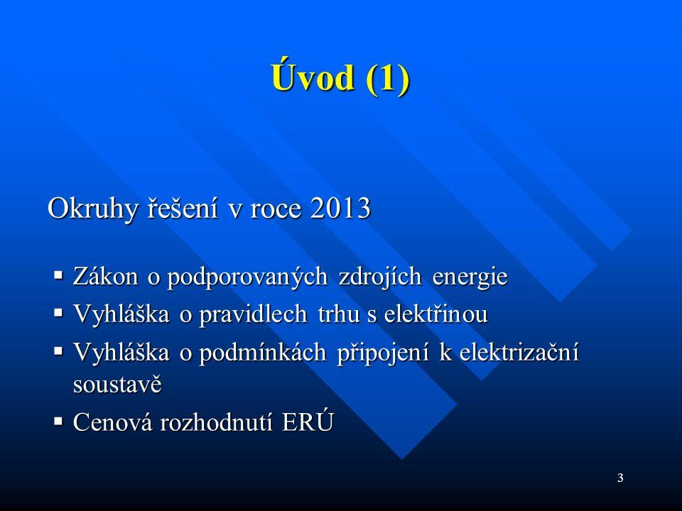 3 Okruhy řešení v roce 2013 Okruhy řešení v roce 2013  Zákon o podporovaných zdrojích energie  Vyhláška o pravidlech trhu s elektřinou  Vyhláška o podmínkách připojení k elektrizační soustavě  Cenová rozhodnutí ERÚ Úvod (1)