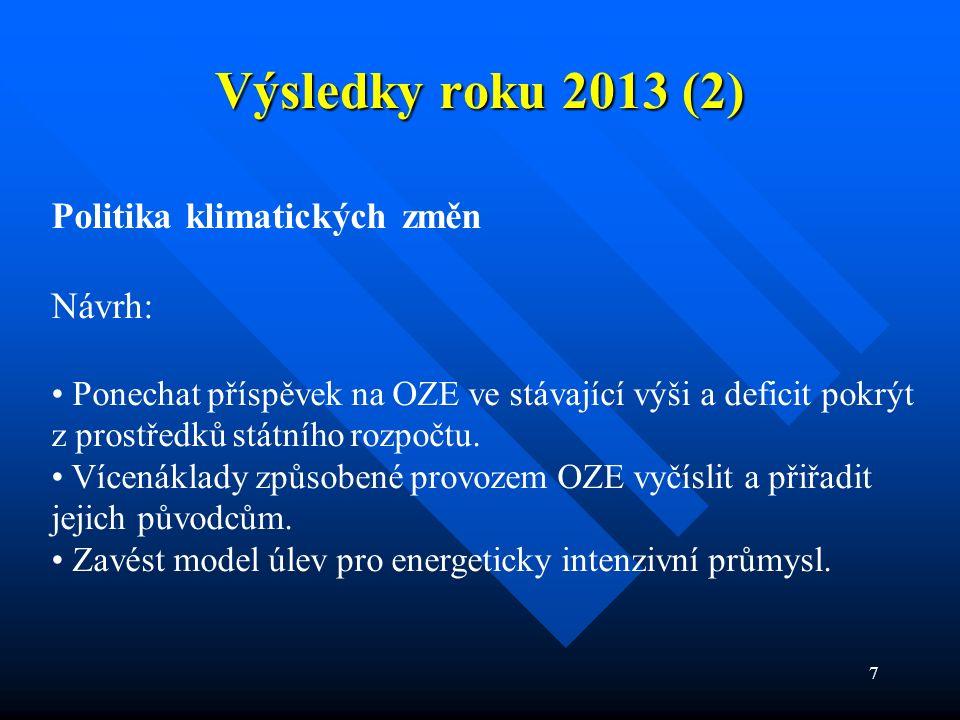 7 Výsledky roku 2013 (2) Politika klimatických změn Návrh: Ponechat příspěvek na OZE ve stávající výši a deficit pokrýt z prostředků státního rozpočtu