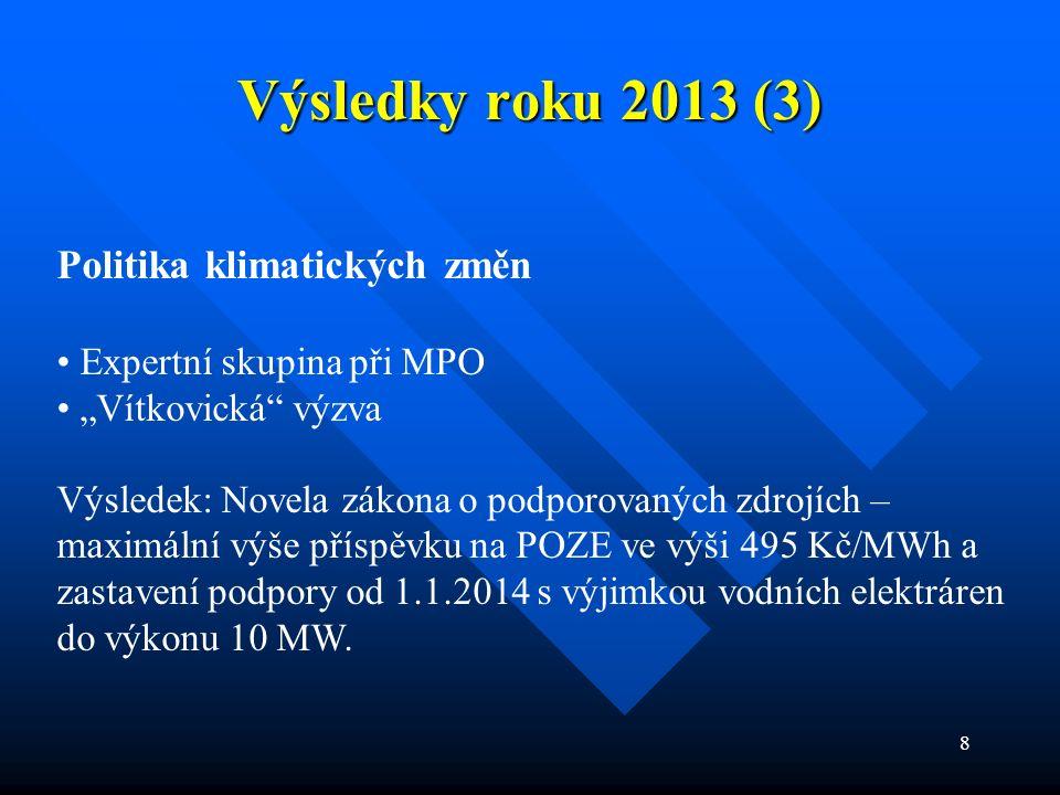 """8 Výsledky roku 2013 (3) Politika klimatických změn Expertní skupina při MPO """"Vítkovická výzva Výsledek: Novela zákona o podporovaných zdrojích – maximální výše příspěvku na POZE ve výši 495 Kč/MWh a zastavení podpory od 1.1.2014 s výjimkou vodních elektráren do výkonu 10 MW."""