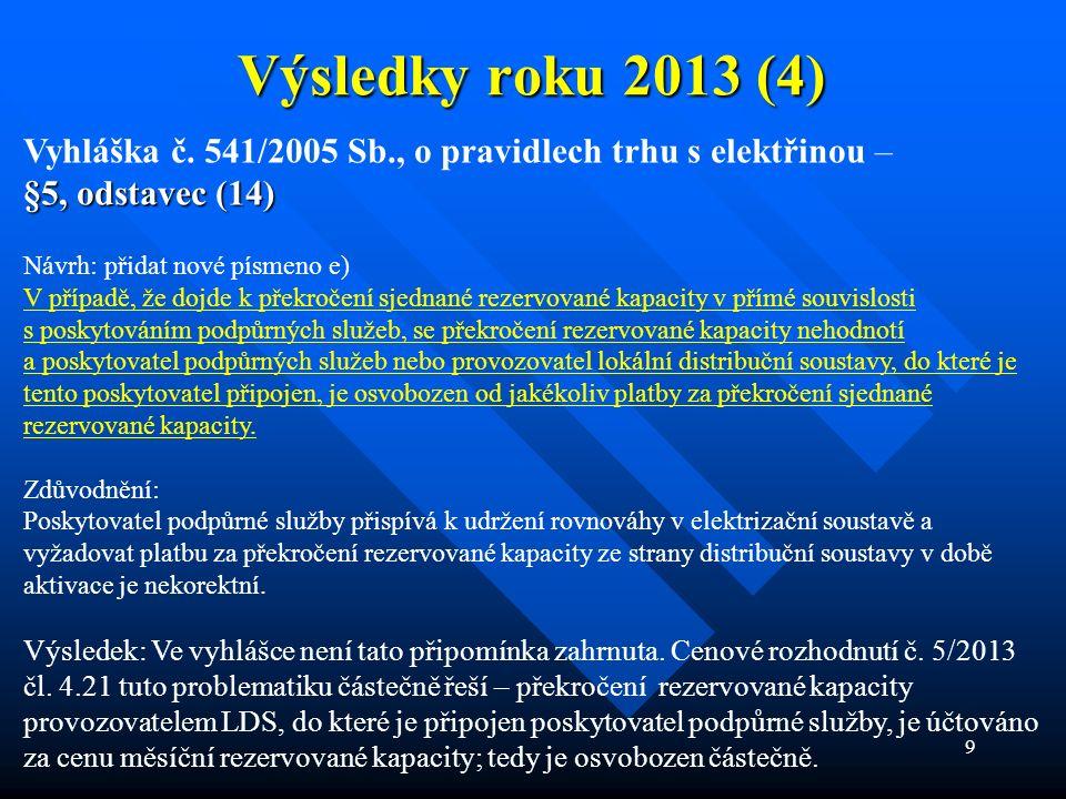 9 Výsledky roku 2013 (4) Vyhláška č. 541/2005 Sb., o pravidlech trhu s elektřinou – §5, odstavec (14) Návrh: přidat nové písmeno e) V případě, že dojd