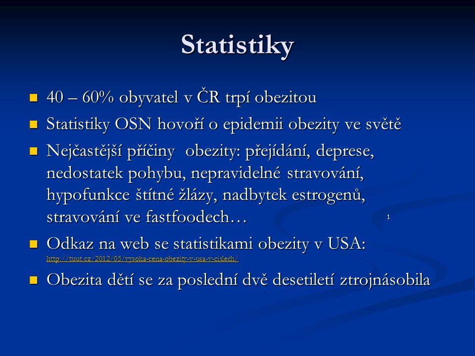 Statistiky 40 – 60% obyvatel v ČR trpí obezitou 40 – 60% obyvatel v ČR trpí obezitou Statistiky OSN hovoří o epidemii obezity ve světě Statistiky OSN