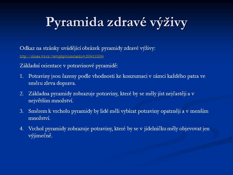Pyramida zdravé výživy Odkaz na stránky uvádějící obrázek pyramidy zdravé výživy: http://olinea.wz.cz/view.php?cisloclanku=2004110304 Základní orienta