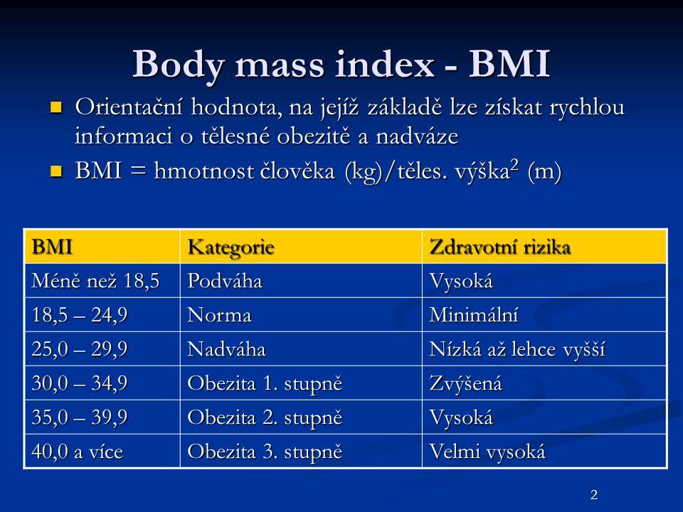 Body mass index - BMI Orientační hodnota, na jejíž základě lze získat rychlou informaci o tělesné obezitě a nadváze Orientační hodnota, na jejíž zákla