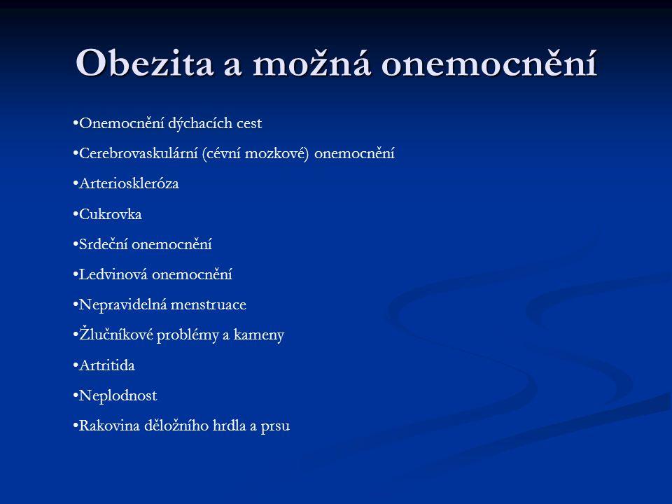 Obezita a možná onemocnění Onemocnění dýchacích cest Cerebrovaskulární (cévní mozkové) onemocnění Arterioskleróza Cukrovka Srdeční onemocnění Ledvinov