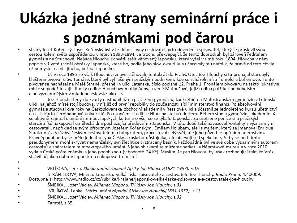 Ukázka jedné strany seminární práce i s poznámkami pod čarou strany Josef Kořenský.
