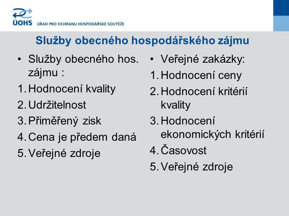 Služby obecného hospodářského zájmu Služby obecného hos.