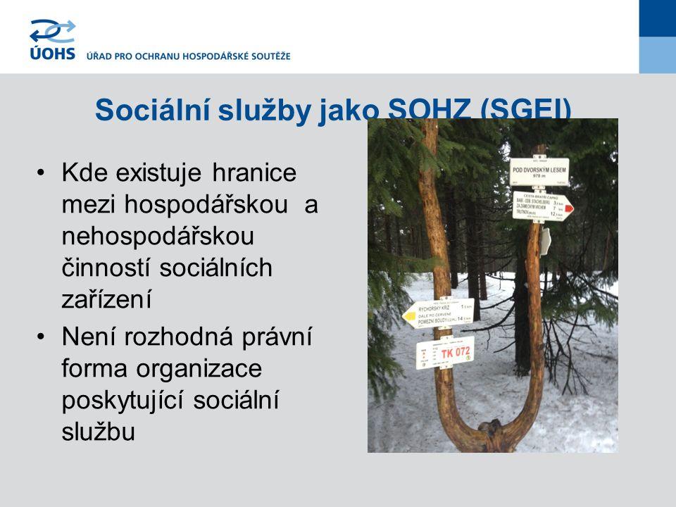Sociální služby jako SOHZ (SGEI) Kde existuje hranice mezi hospodářskou a nehospodářskou činností sociálních zařízení Není rozhodná právní forma organizace poskytující sociální službu