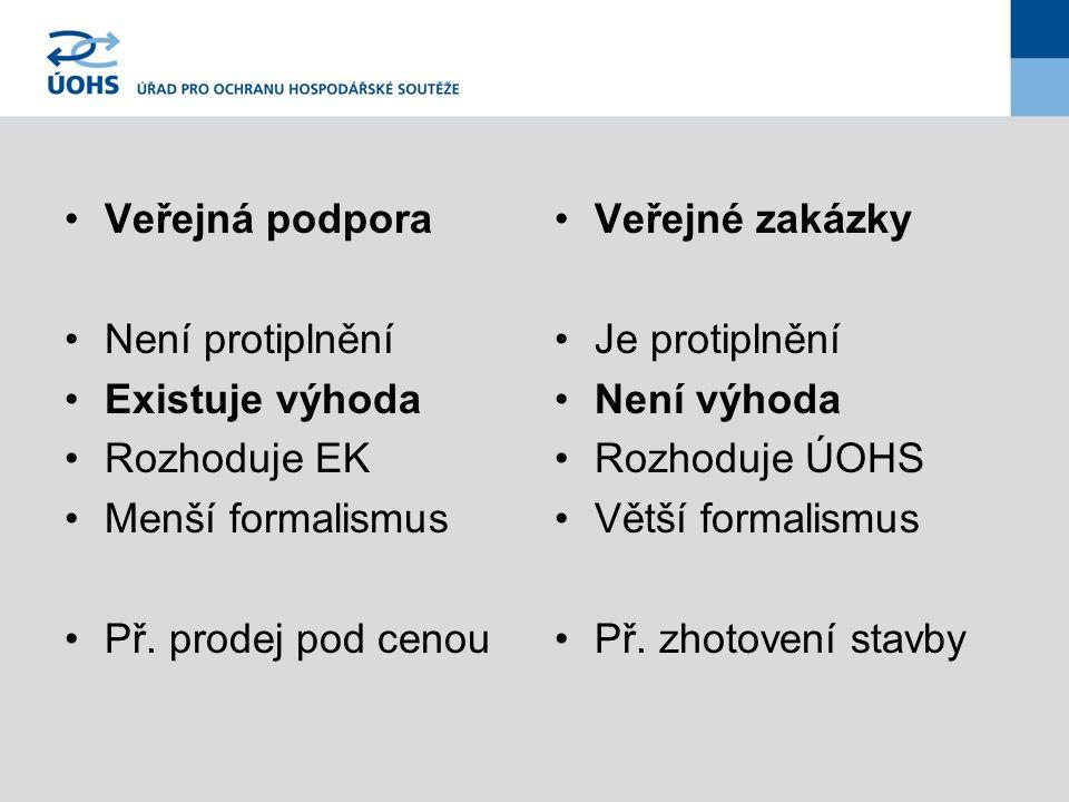 Veřejná podpora Není protiplnění Existuje výhoda Rozhoduje EK Menší formalismus Př. prodej pod cenou Veřejné zakázky Je protiplnění Není výhoda Rozhod