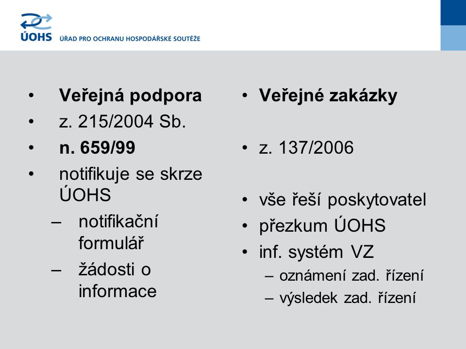 Veřejná podpora z. 215/2004 Sb. n. 659/99 notifikuje se skrze ÚOHS –notifikační formulář –žádosti o informace Veřejné zakázky z. 137/2006 vše řeší pos