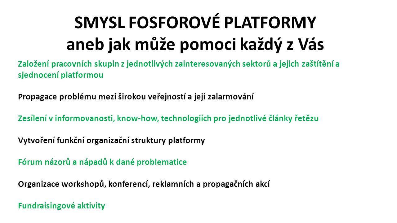 SMYSL FOSFOROVÉ PLATFORMY aneb jak může pomoci každý z Vás Založení pracovních skupin z jednotlivých zainteresovaných sektorů a jejich zaštítění a sjednocení platformou Propagace problému mezi širokou veřejností a její zalarmování Zesílení v informovanosti, know-how, technologiích pro jednotlivé články řetězu Vytvoření funkční organizační struktury platformy Fórum názorů a nápadů k dané problematice Organizace workshopů, konferencí, reklamních a propagačních akcí Fundraisingové aktivity
