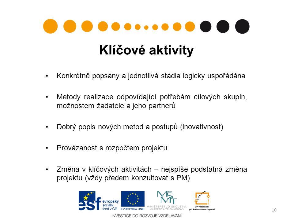 Klíčové aktivity Konkrétně popsány a jednotlivá stádia logicky uspořádána Metody realizace odpovídající potřebám cílových skupin, možnostem žadatele a