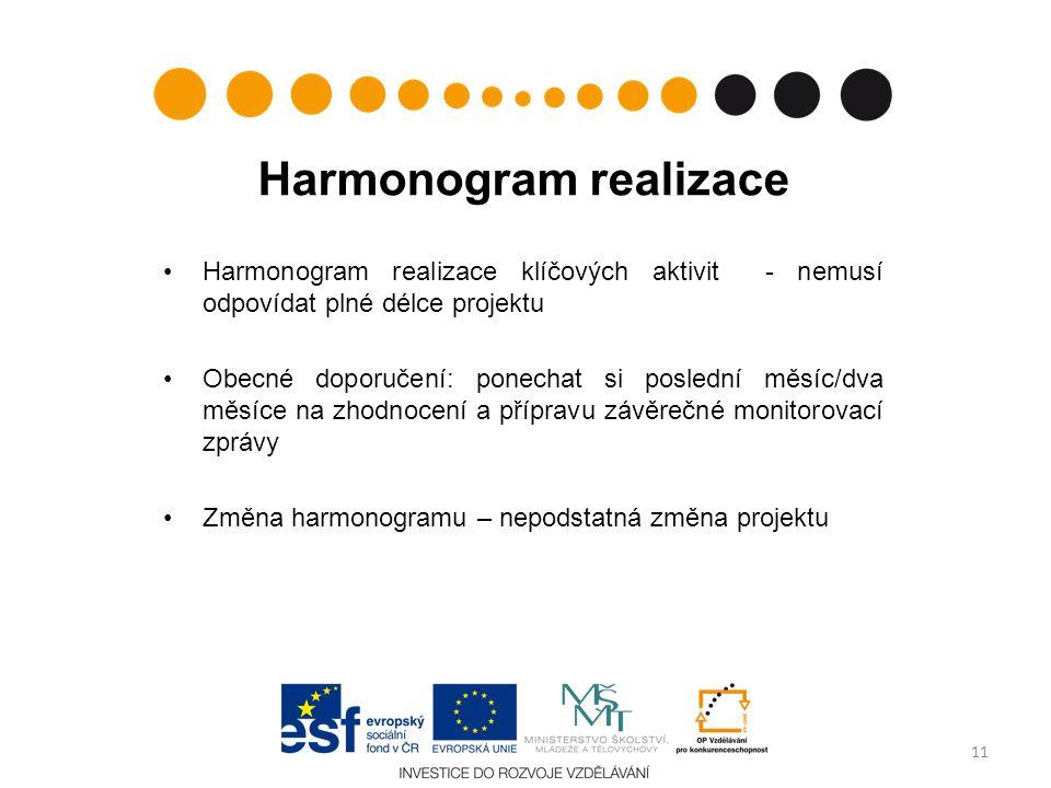 Harmonogram realizace Harmonogram realizace klíčových aktivit - nemusí odpovídat plné délce projektu Obecné doporučení: ponechat si poslední měsíc/dva