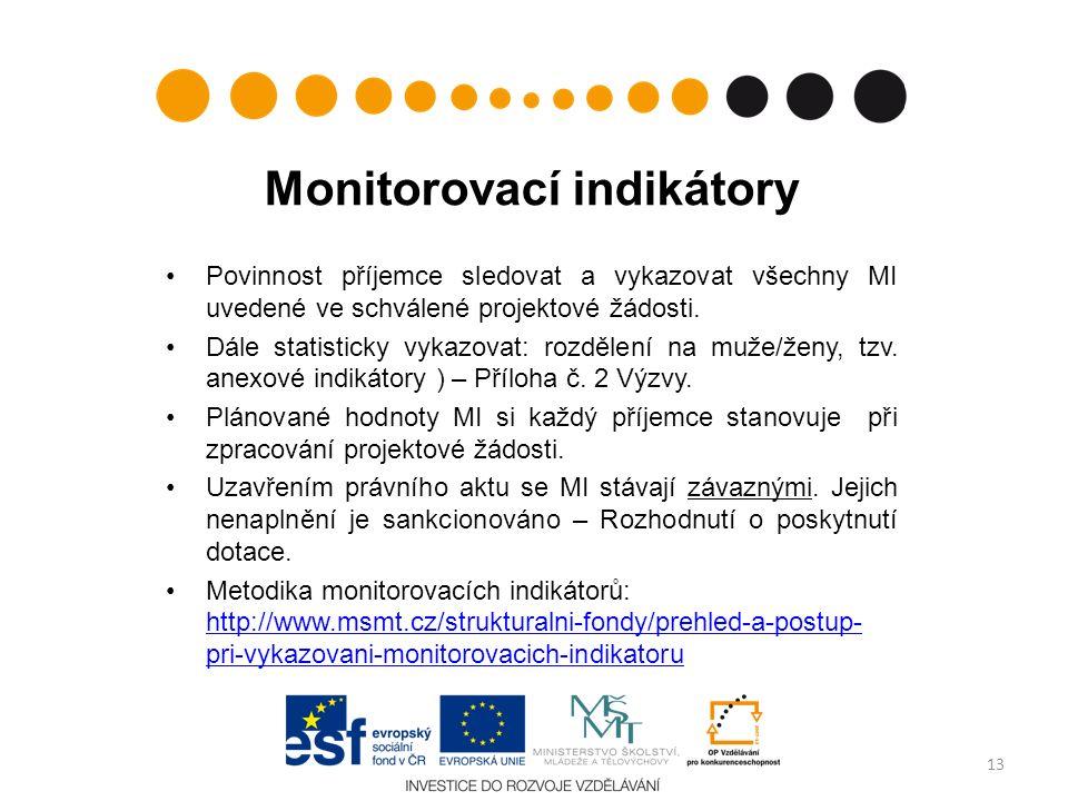 Monitorovací indikátory Povinnost příjemce sledovat a vykazovat všechny MI uvedené ve schválené projektové žádosti. Dále statisticky vykazovat: rozděl