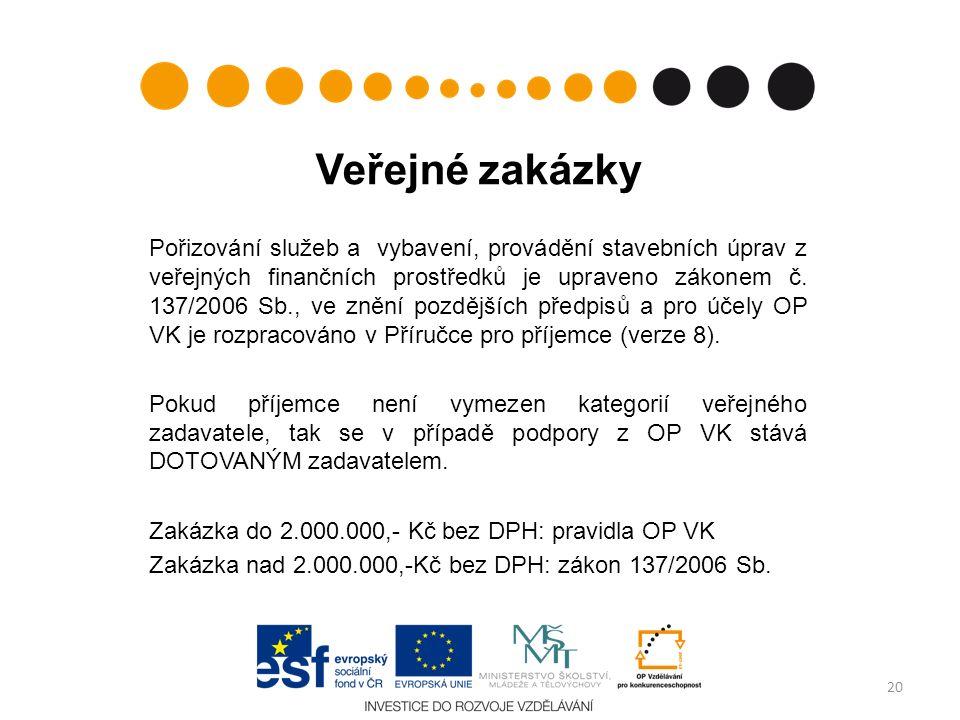 Veřejné zakázky Pořizování služeb a vybavení, provádění stavebních úprav z veřejných finančních prostředků je upraveno zákonem č. 137/2006 Sb., ve zně