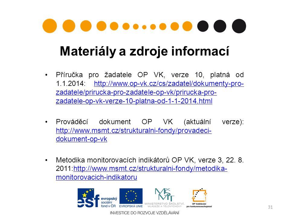 Materiály a zdroje informací Příručka pro žadatele OP VK, verze 10, platná od 1.1.2014: http://www.op-vk.cz/cs/zadatel/dokumenty-pro- zadatele/prirucka-pro-zadatele-op-vk/prirucka-pro- zadatele-op-vk-verze-10-platna-od-1-1-2014.htmlhttp://www.op-vk.cz/cs/zadatel/dokumenty-pro- zadatele/prirucka-pro-zadatele-op-vk/prirucka-pro- zadatele-op-vk-verze-10-platna-od-1-1-2014.html Prováděcí dokument OP VK (aktuální verze): http://www.msmt.cz/strukturalni-fondy/provadeci- dokument-op-vk http://www.msmt.cz/strukturalni-fondy/provadeci- dokument-op-vk Metodika monitorovacích indikátorů OP VK, verze 3, 22.