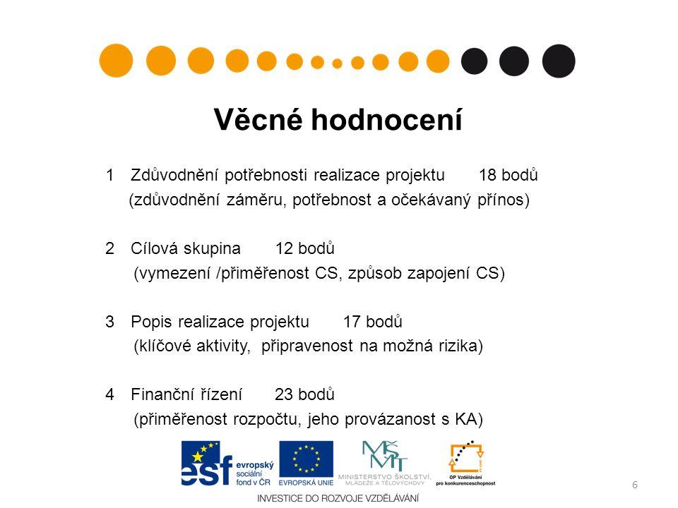 Věcné hodnocení 1Zdůvodnění potřebnosti realizace projektu 18 bodů (zdůvodnění záměru, potřebnost a očekávaný přínos) 2Cílová skupina 12 bodů (vymezen