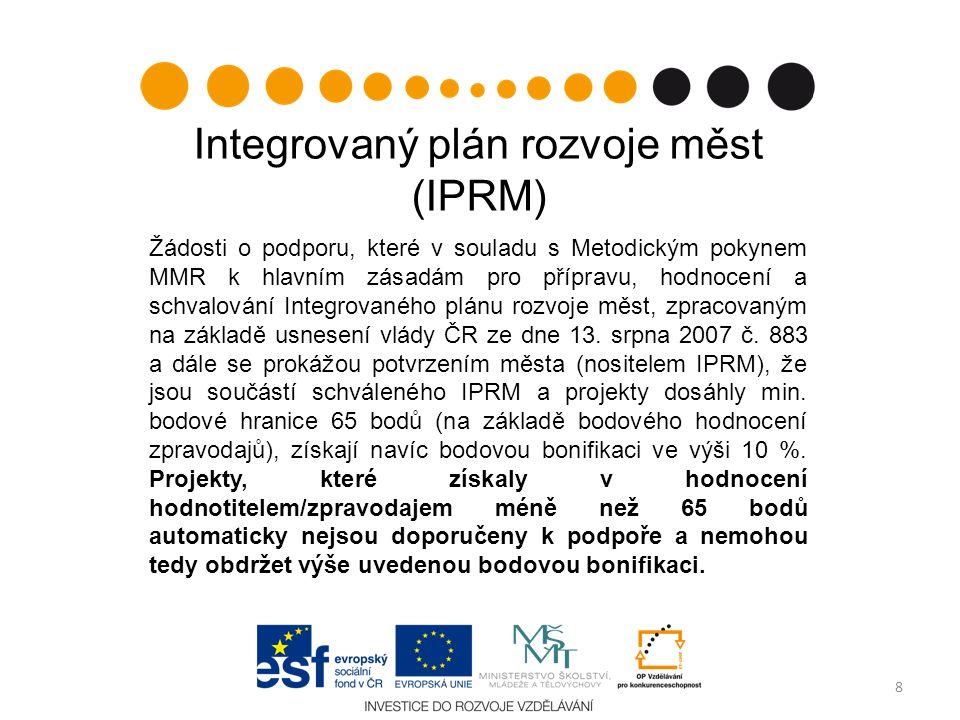 Integrovaný plán rozvoje měst (IPRM) Žádosti o podporu, které v souladu s Metodickým pokynem MMR k hlavním zásadám pro přípravu, hodnocení a schvalování Integrovaného plánu rozvoje měst, zpracovaným na základě usnesení vlády ČR ze dne 13.
