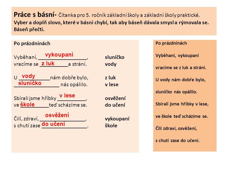 Práce s básní- Čítanka pro 5. ročník základní školy a základní školy praktické.