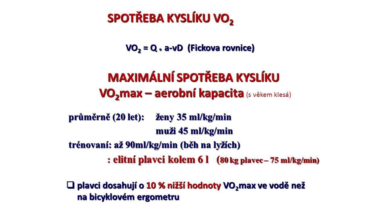 SPOTŘEBA KYSLÍKU VO 2 VO 2 = Q * a-vD (Fickova rovnice) MAXIMÁLNÍ SPOTŘEBA KYSLÍKU VO 2 max – aerobní kapacita VO 2 max – aerobní kapacita (s věkem klesá) průměrně (20 let): ženy 35 ml/kg/min muži 45 ml/kg/min trénovaní: až 90ml/kg/min (běh na lyžích) : elitní plavci kolem 6 l ( 80 kg plavec – 75 ml/kg/min) : elitní plavci kolem 6 l ( 80 kg plavec – 75 ml/kg/min)  plavci dosahují o 10 % nižší hodnoty VO 2 max ve vodě než na bicyklovém ergometru na bicyklovém ergometru