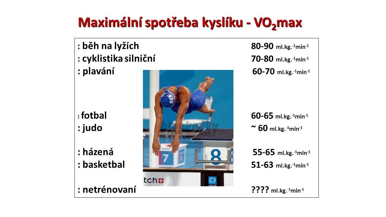 Maximální spotřeba kyslíku - VO 2 max : běh na lyžích 80-90 ml.kg. -1 min -1 : cyklistika silniční 70-80 ml.kg. -1 min -1 : plavání 60-70 ml.kg. -1 mi