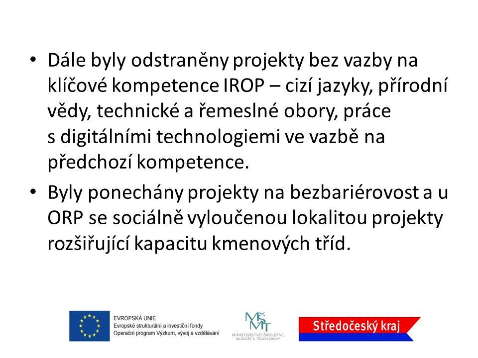 Dále byly odstraněny projekty bez vazby na klíčové kompetence IROP – cizí jazyky, přírodní vědy, technické a řemeslné obory, práce s digitálními technologiemi ve vazbě na předchozí kompetence.