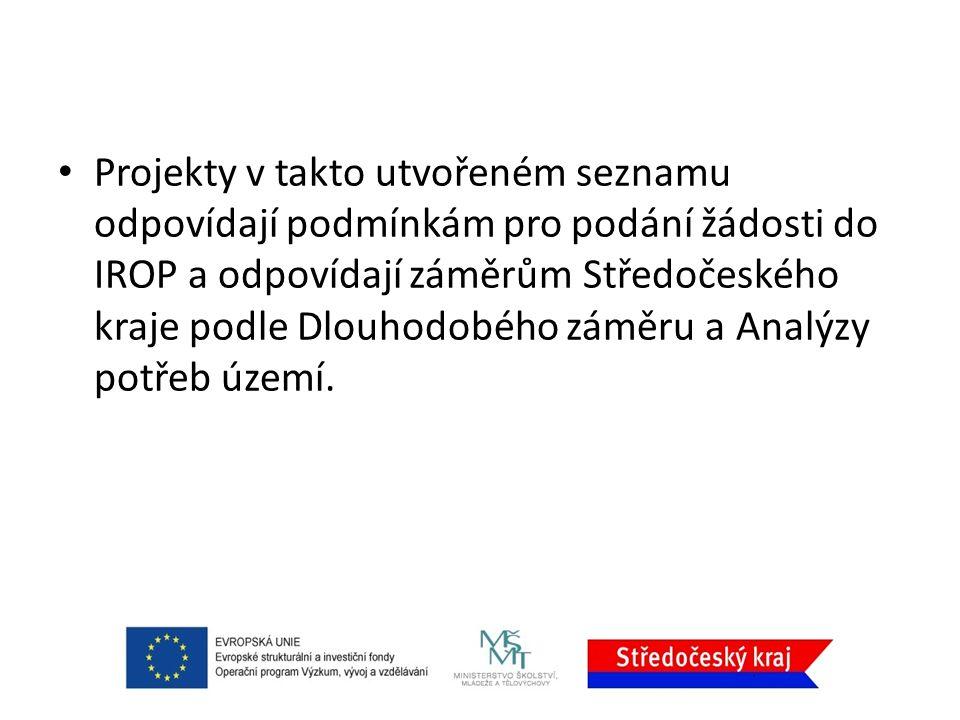 Projekty v takto utvořeném seznamu odpovídají podmínkám pro podání žádosti do IROP a odpovídají záměrům Středočeského kraje podle Dlouhodobého záměru a Analýzy potřeb území.