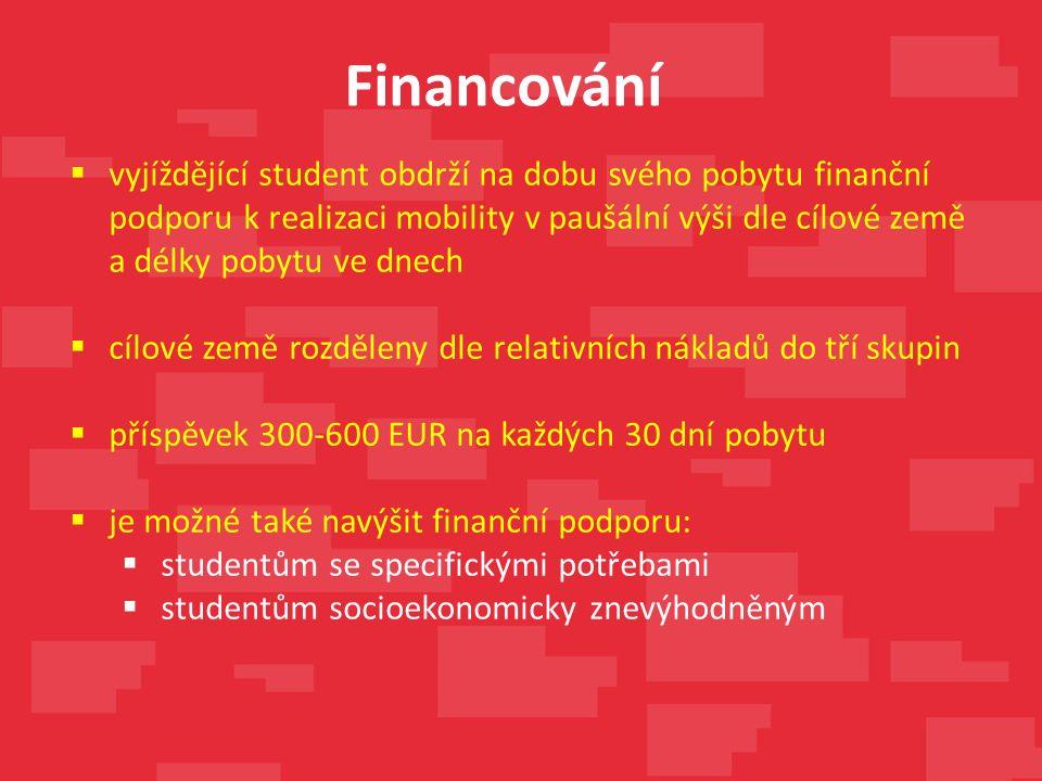 Financování  vyjíždějící student obdrží na dobu svého pobytu finanční podporu k realizaci mobility v paušální výši dle cílové země a délky pobytu ve dnech  cílové země rozděleny dle relativních nákladů do tří skupin  příspěvek 300-600 EUR na každých 30 dní pobytu  je možné také navýšit finanční podporu:  studentům se specifickými potřebami  studentům socioekonomicky znevýhodněným