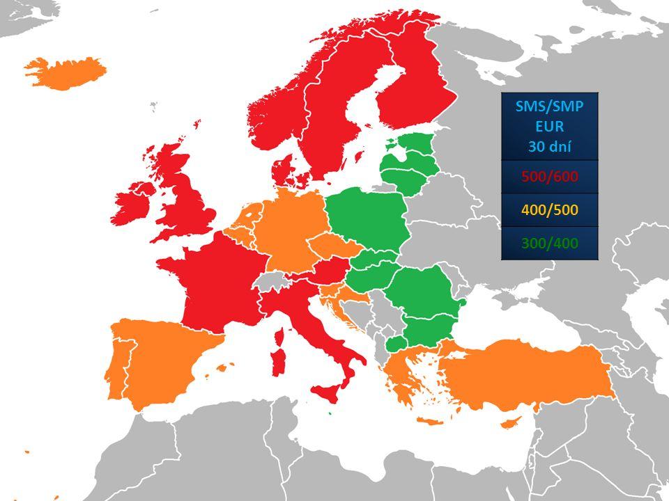 SMS/SMP EUR 30 dní 500/600 400/500 300/400
