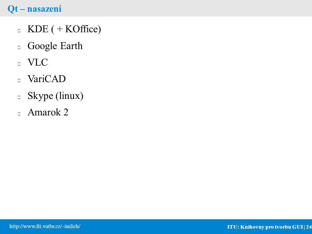 ITU: Knihovny pro tvorbu GUI | 24 http://www.fit.vutbr.cz/~imlich/ Qt – nasazení KDE ( + KOffice) Google Earth VLC VariCAD Skype (linux) Amarok 2