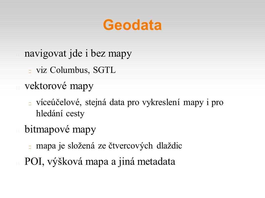 Geodata navigovat jde i bez mapy viz Columbus, SGTL vektorové mapy víceúčelové, stejná data pro vykreslení mapy i pro hledání cesty bitmapové mapy mapa je složená ze čtvercových dlaždic POI, výšková mapa a jiná metadata