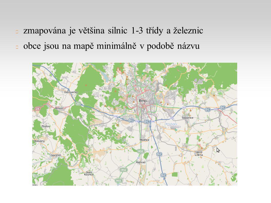 zmapována je většina silnic 1-3 třídy a železnic obce jsou na mapě minimálně v podobě názvu