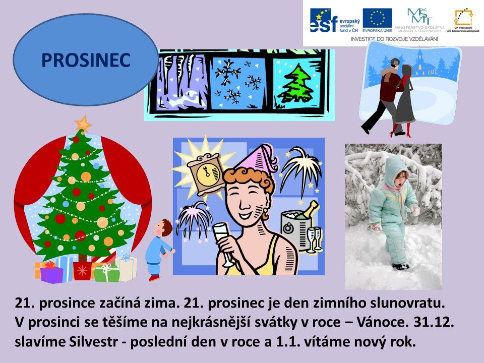 PROSINEC 21. prosince začíná zima. 21. prosinec je den zimního slunovratu. V prosinci se těšíme na nejkrásnější svátky v roce – Vánoce. 31.12. slavíme