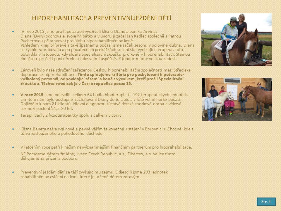 HIPOREHABILITACE A PREVENTIVNÍ JEŽDĚNÍ DĚTÍ V roce 2015 jsme pro hipoterapii využívali klisnu Dianu a poníka Arvina.