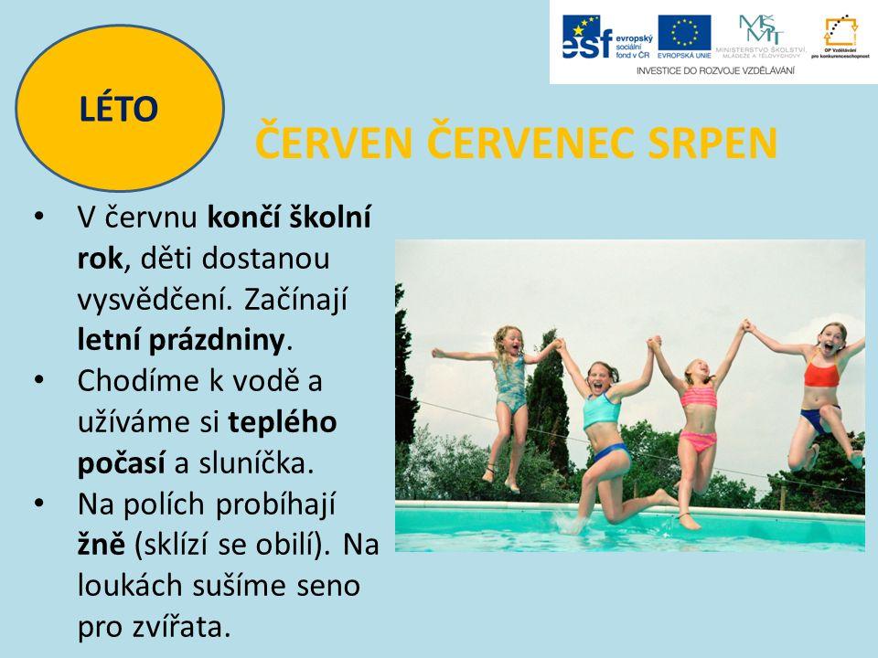 LÉTO ČERVEN ČERVENEC SRPEN V červnu končí školní rok, děti dostanou vysvědčení. Začínají letní prázdniny. Chodíme k vodě a užíváme si teplého počasí a