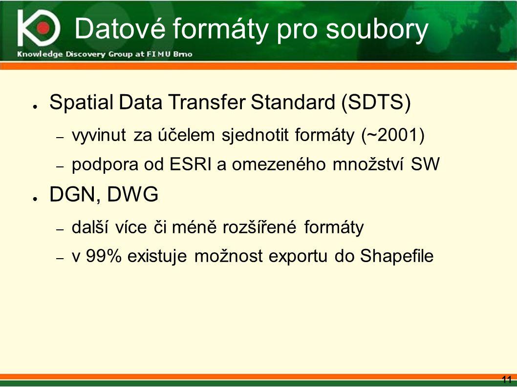 11 Datové formáty pro soubory ● Spatial Data Transfer Standard (SDTS) – vyvinut za účelem sjednotit formáty (~2001) – podpora od ESRI a omezeného množství SW ● DGN, DWG – další více či méně rozšířené formáty – v 99% existuje možnost exportu do Shapefile
