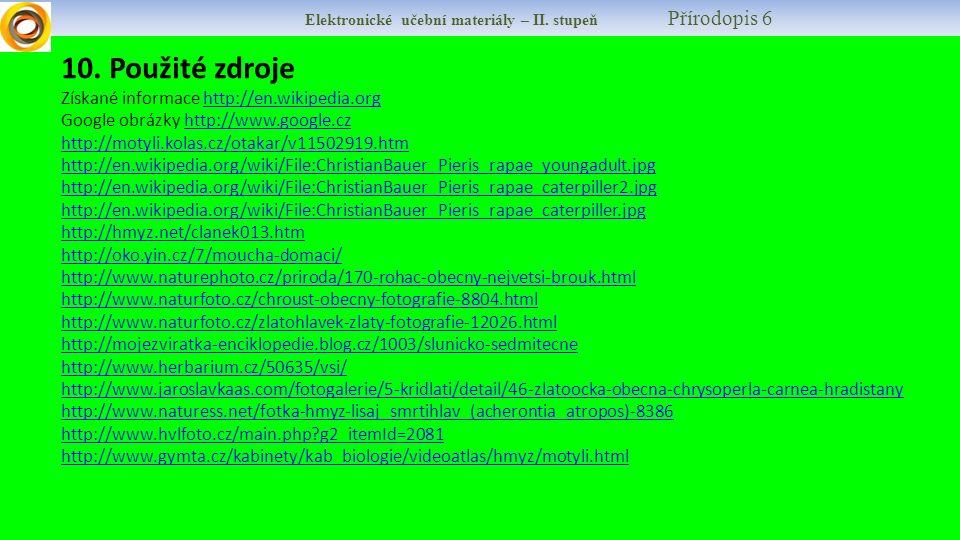 Elektronické učební materiály – II. stupeň Přírodopis 6 10.