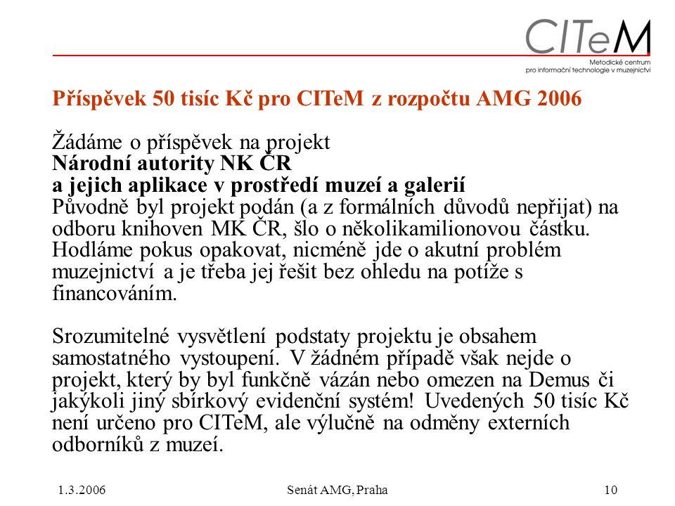 1.3.2006Senát AMG, Praha10 Příspěvek 50 tisíc Kč pro CITeM z rozpočtu AMG 2006 Žádáme o příspěvek na projekt Národní autority NK ČR a jejich aplikace v prostředí muzeí a galerií Původně byl projekt podán (a z formálních důvodů nepřijat) na odboru knihoven MK ČR, šlo o několikamilionovou částku.