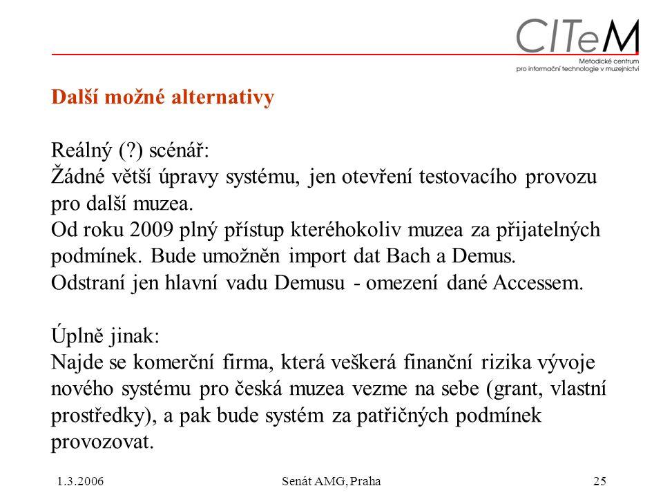 1.3.2006Senát AMG, Praha25 Další možné alternativy Reálný ( ) scénář: Žádné větší úpravy systému, jen otevření testovacího provozu pro další muzea.