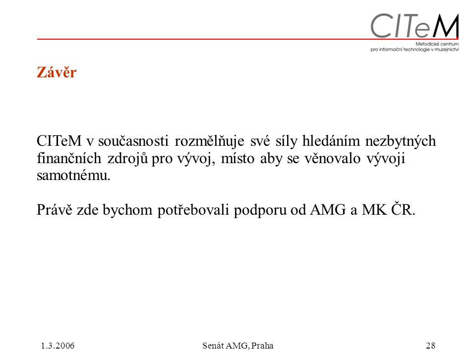1.3.2006Senát AMG, Praha28 Závěr CITeM v současnosti rozmělňuje své síly hledáním nezbytných finančních zdrojů pro vývoj, místo aby se věnovalo vývoji samotnému.
