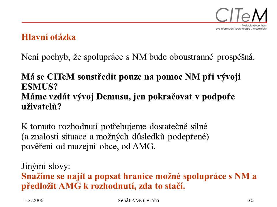 1.3.2006Senát AMG, Praha30 Hlavní otázka Není pochyb, že spolupráce s NM bude oboustranně prospěšná.