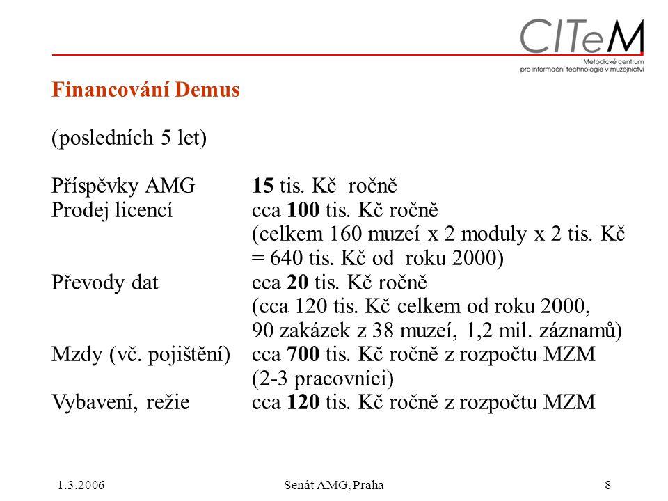 1.3.2006Senát AMG, Praha8 Financování Demus (posledních 5 let) Příspěvky AMG 15 tis.