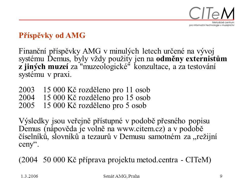 1.3.2006Senát AMG, Praha9 Příspěvky od AMG Finanční příspěvky AMG v minulých letech určené na vývoj systému Demus, byly vždy použity jen na odměny externistům z jiných muzeí za muzeologické konzultace, a za testování systému v praxi.