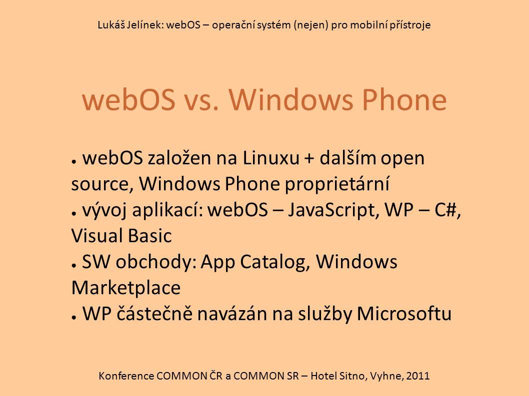 webOS vs. Windows Phone Konference COMMON ČR a COMMON SR – Hotel Sitno, Vyhne, 2011 Lukáš Jelínek: webOS – operační systém (nejen) pro mobilní přístro